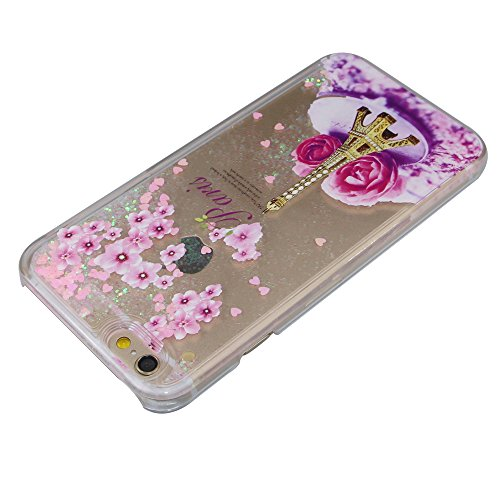 iPhone 6S Plus Coque,iPhone 6 Plus Coque,iPhone 6S Plus Case,iPhone 6 Plus Case,EMAXELERS Liquide Glitter Bling Sparkles Cute Deer Child Design Strass Case Cover Coque Housse Etui pour iPhone 6S Plus, Pink Heart Series 9