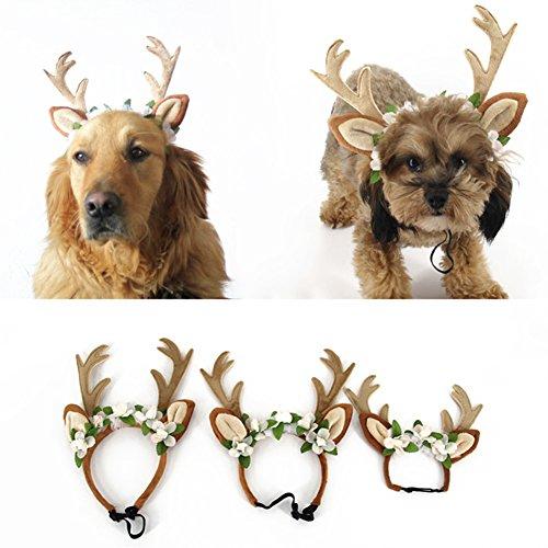 Terzsl Haarband für Hunde und Katzen, Weihnachtsdesign, Rentiergeweih mit Blumen, Größe L, Large