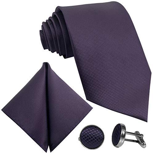 GASSANI 10cm Breite Herrenkrawatte Krawattenset Lilane Karo-Muster, Schmale Skinny Slim Hochzeitskrawatte Herrenschlips Einstecktuch Manschettenknöpfe