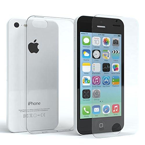 EAZY CASE Hülle für Apple iPhone 5C Silikonhülle & Panzerglas (9H) Schutz Set, Displayschutzglas, Panzerglas, Schutzhülle Ultra dünn, TPU/Silikon Hülle, Backcover, transparent/kristallklar - Kratzer-entferner Iphone Für
