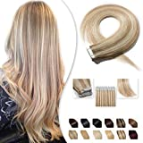 Extension Adhesive en Cheveux Naturel Bande Adhesive 20 Pcs - Tape in Human Hair Extensions - #18+613 Sable blond Méché Blond très clair - 18 Pouces/45cm