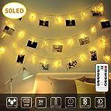 Guirlandes Lumineuses Photo Clips, CENXINY 5M Guirlande Lumineuse 50 LED Luminaires intérieur Éclairage d'ambiance Décoration pour Mémos Photos, Oeuvres, Fête (Blanc Chaud)