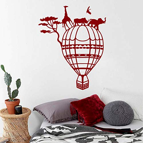 Hlfymx Wand -Aufkleber Heißluft -Ballon -Raum -DekorationAfrikaNatur Tiere Nashorn Elefant -Plakat57 * 71Cm