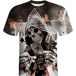 Angebote,Neue Deals,Herren T-Shirt Ronamick Männer Schädel 3D Druck Tees Shirt Kurzarm T-Shirt Bluse Tops (Schwarz, M)
