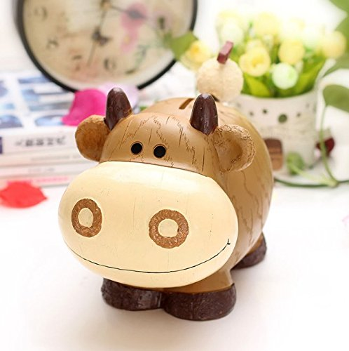Banco de Dinero de Viaje Piggy Box Regalos creativos para niños Resina Zodiac Piggy Bank Super Lovely Animal Piggy Bank (Vaca)