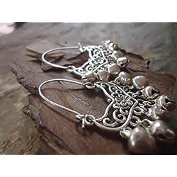 ✿ PENDIENTES BOHO de TRIBAL - con campanas y gancho largo ✿ pendientes laterales