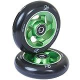 2 Stück SLICKstuff Stunt Scooter CNC Alu 100mm Felgen High End Rollen Abec 9, Farbe: grün / schwarz, Ausführung: Curved