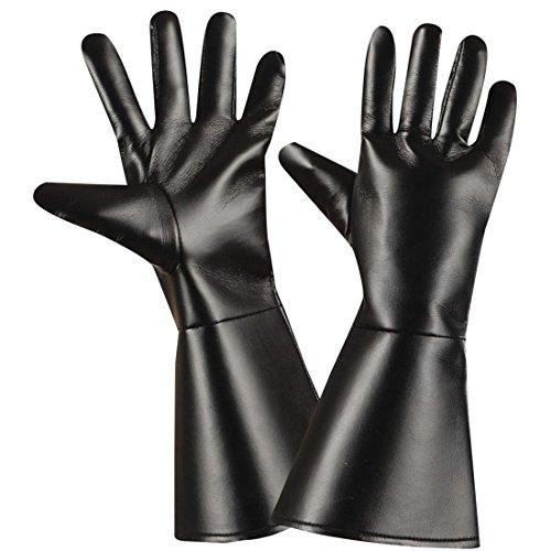 Handschuhe Western Fingerhandschuhe Leder Optik Cowboy Herrenhandschuhe Lederhandschuhe schwarz Karneval Kostüm Zubehör Gothic Accessoires Zorro Bandit (Handschuhe Zorro)