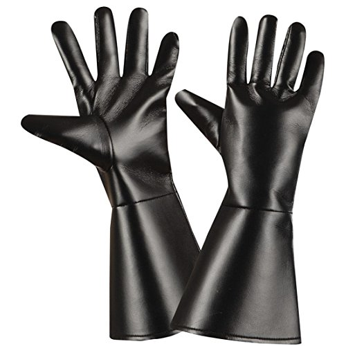 Handschuhe Western Fingerhandschuhe Leder Optik Cowboy Herrenhandschuhe Lederhandschuhe schwarz Karneval Kostüm Zubehör Gothic Accessoires Zorro Bandit Kunstlederhandschuhe (Zorro Handschuhe)