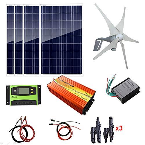 AUECOOR 800W Solar-Windset, 4 x 100 W polykristallines Solarpanel + 400 W Windturbine, Solarregler, Windregler, 1500 W Inverter (Peak 3000 W) + Zubehör 40a 0,5 V Ladegerät