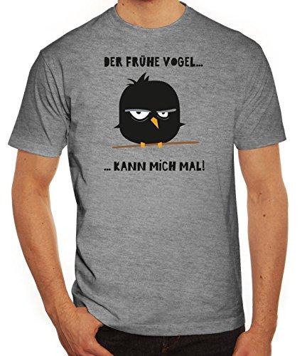 Morgenmuffel Herren T-Shirt mit Mad Bird - der frühe Vogel Motiv von ShirtStreet Graumeliert
