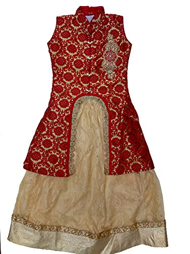 Dinesh Lehenga for Girls Red & Golden colour with Maroon Dupatta