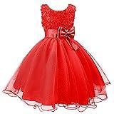 discoball 3D Blume Mädchen Kleid Kinder Kleider Prinzessin Festkleid Hochzeit Brautkleid Geburtstag Abendkleid Kommunionskleid