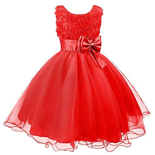 ädchen Kleid Kinder Kleider Prinzessin Festkleid Hochzeit Brautkleid Geburtstag Abendkleid Kommunionskleid (Kinder Rote Kleider)
