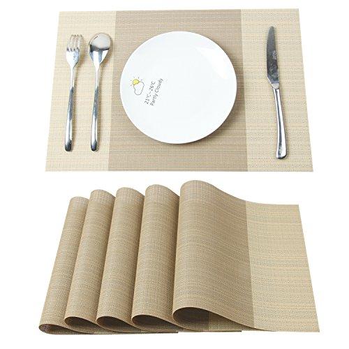 Homcomoda Tischsets Waschbar Kunststoff Platzdeckchen Rutschfeste Hitzebeständig Tischsets für Küche 30 x 45 cm (Beige)