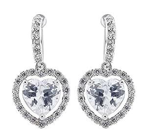 Clip su orecchini - argento orecchino di lusso del cuore con una pietra zirconi e cristalli - Mel di Bello London