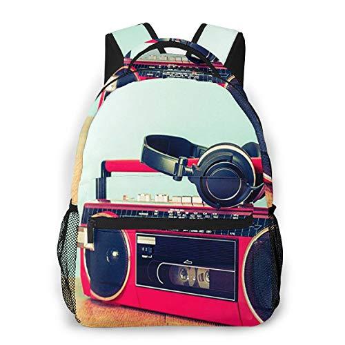 Rucksack Freizeit und Ausflüge Damen Herren Mädchen, Campus Kinderrucksack, Daypack Tagesrucksack für Schule, Sportrucksack, Tablet Tasche Retro Ghetto Blaster Kassette
