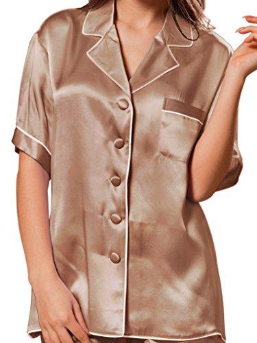 ELLESILK 100% Natur-Seide Zweiteilig Schlafanzug Damen, 22MM Maulbeerseide Pyjama Cappuccino/Weiß