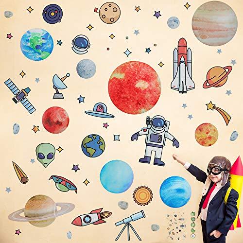 Outus 2 Blätter Space Wand Aufkleber Solar System Wand Aufkleber Schälen Planet Wand Aufkleber und Aufkleber Tattoo für Kinder Schlafzimmer Kinderzimmer Babyzimmer Klassenzimmer