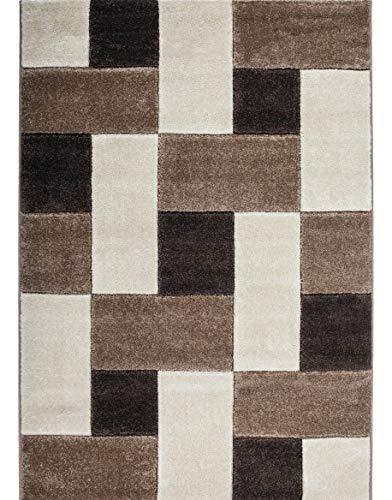 Keymura GmbH Designer Teppich Modern mit Konturenschnitt Karo Muster Kariert Prada 8005 Farbe BEIGE - 80X300