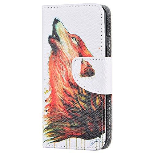 SMART LEGEND für iPhone 7 Ledertasche Hülle(4.7 Zoll) Lederhülle Brieftasche Handyhülle mit Pusteblume und Liebhaber Muster Premium Schutzhülle Wallet Case Ledercase Design Neu Zubehör im Bookstyle Co Wolf