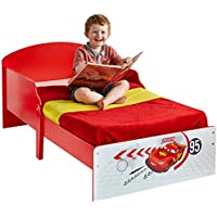 Preisvergleich für Kinderbett Juniorbett Autobett Kinder Cars Einzelbett McQueen Kleinkinderbett 70x140 Babybett Kindermöbel Spielbett Rot