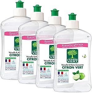 limpiar fosa séptica: L'Arbre Vert Líquido lavavajillas a mano, limón verde, 500 ml, lote de 4