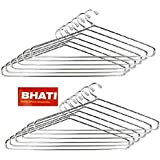 BHATI Stainless Steel Cloth Hanger (Silver) -12 Pieces,Set