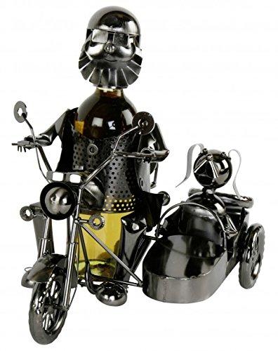 Weinflaschenhalter Biker mit Beiwagen und Hund