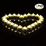 LED Teelichter Inklusive Batterien,24 Stück Wasserdicht Unterwasser LED Kerzen Flammenlose für Dekoration,Pool, Badewanne, Teich, Hochzeit - Warmweiß