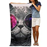rongxincailiaoke Strandtücher Handtücher Bath Towel Cool Personality Cat Kitty Patterned Soft Beach Towel 31'x 51' Towel with Unique Design