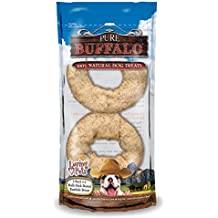 """Pure Buffalo 3""""-4"""" Bully Stick Dusted Rawhide Donuts 2/Pkg-"""