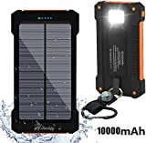 Solar Charger, Hiluckey 10000mAh Dual USB Solar Panel Portable Battery Charger, Solar Power Bank with LED Flashlight for iPhone, Android Smart Phone and Tablets (Waterproof & Dust-proof & Shock-resistant)