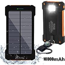 Cargador Solar 10000mAh, Hiluckey Batería Externa Solar Banco de energía Power Bank Doble Puerto USB con LED, Solar Charger Portátil Compatible iphone6 Android-teléfonos móviles,Smartphone(a prueba de golpes a prueba de polvo a prueba de