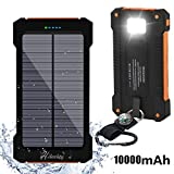 Chargeur solaire 10000mAh, Hiluckey Dual USB Portable Power Bank Imperméable Batterie Externe pour Voyage Extérieure avec Lumière LED pour All Smartphone, Tablet