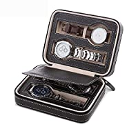 SONNIS Leatherette Watch Storage Box, Tray Zippered Travel Watch Case for Men (4 Grids Black)