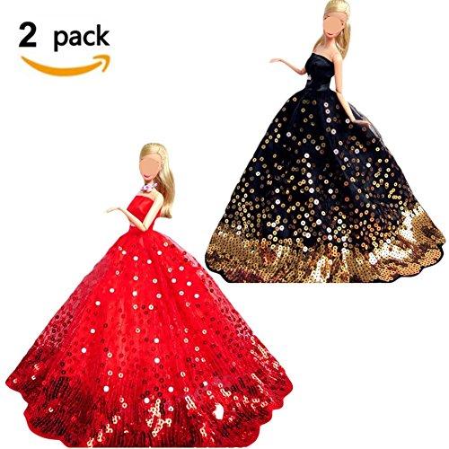 Puppen Kleidung, 2 Stück Mode handgefertigte Brautkleid Rock Stickerei Party Kleid mit Pailletten...