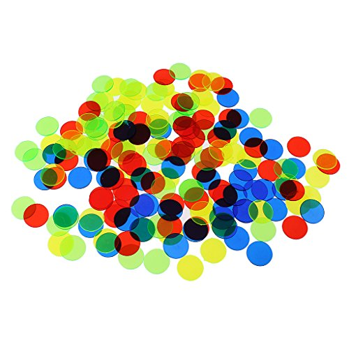 Baoblaze 200 Pcs Plastic Poker Chips Bingo Board Games Markers Tokens Kids Counting Toy Family Club Party Supplies Mixed Color