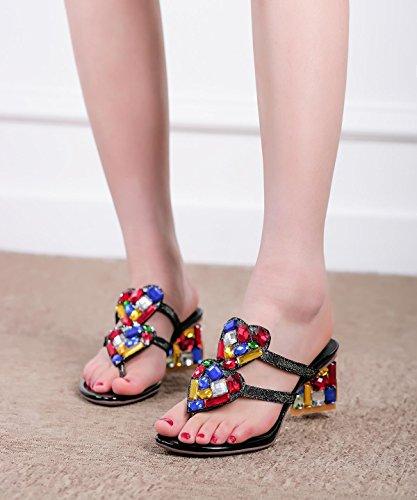 Frauen Maultiere Sommer Sandalen Diamant Flip Flops Spezielle High-Heel Hausschuhe Schuhe Größe 33-41 Black
