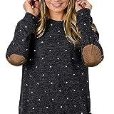 UFACE Damen Genäht Langarm T-Shirt Casual Langarm Block Patch Polka Dot O-Ausschnitt Pullover Top Bluse(Schwarz,EU/46CN/L)