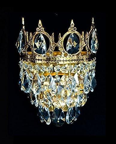 Königliche Kristall Kronleuchter Wandlampen mit kleinen Krönchen aus verschieden Epochen wie Barock, Empire, Art Deco (Art Deco Di Cristallo)