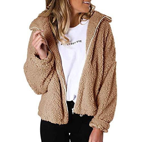 Mantel Damen feiXIANG Revers Parka Jacke Strickjacke Langer Outwear mit Lange Hülsen (C-Khaki, L) -