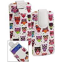 Emartbuy Multicolor Owls Print Cuero PU Funda Carcasa Case Tipo Bolsa ( Talla LM2 ) con Mecanismo de Pestaña para Estirar apto para Blusens Smart Elegance 3 Smartphone