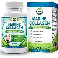 Complesso di collagene marino, integratore anti-rughe ultra potente con niacina e vitamina C, per donare elasticità e ringiovanire la pelle stanca, 120 capsule