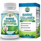 Complejo de Colágeno Marino, suplemento antiarrugas de alta concentración con niacina y vitamina C. Para mayor elasticidad y aspecto rejuvenecido en pieles cansadas -120 cápsulas