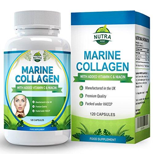 Complexe de Collagène Marin, Complément Anti-Rides Haute Puissance avec de la Niacine et de la Vitamine C. La peau fatiguée gagne en elasticité et semble rajeunie - 120 Capsules