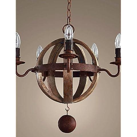 LYNDM-Miglior regalo di Natale, 5 teste arte personalizzata lampada Vintage creativo per fare il legno vecchio lampadario di colore Amercian paesaggio rurale lampada , 220-240v-teak