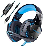 Gaming Headset TeckNet USB 7.1 Channel Surround Sound Over-Ear Gaming Headphones Headband With LED Lightning, Noise Cancelling Mic for PC computer