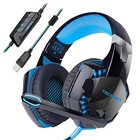 Gaming Headset TeckNet USB 7.1 Channel Surround Sound Over-Ear Gaming Headphones Headband With LED Lightning, Noise Cancelling Mic for PC