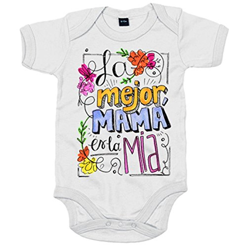 Body bebé Día de la Madre la mejor mamá es la mía - Blanco, 6-12 m
